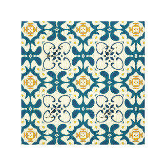 Trellis,vintage,retro,pattern,blue,yellow,trendy, Canvas Print