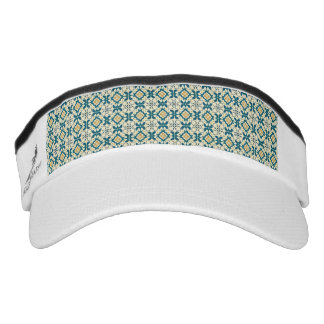 Trellis,vintage,retro,pattern,blue,yellow,trendy, Visor