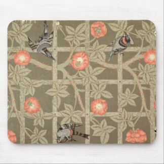Trellis wallpaper design with a bottle green backg mouse pad
