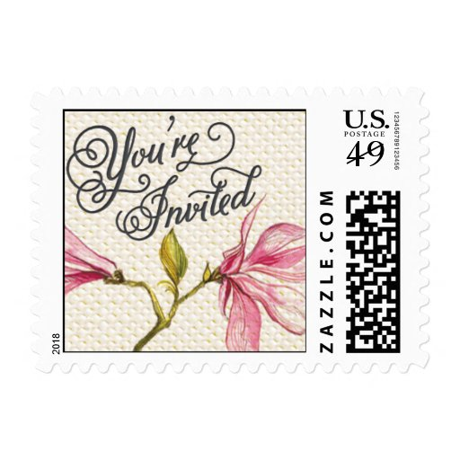 Trellis - You're Invited - 4C - Pink Postage Stamp