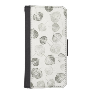 Trembling Aspen Leaf Print Pattern iPhone SE/5/5s Wallet Case