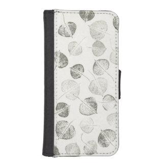 Trembling Aspen Leaf Print Pattern iPhone SE/5/5s Wallet Case