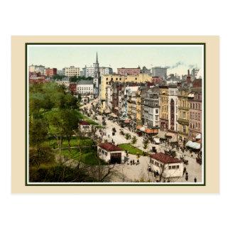 Tremont Street Boston antique restored color photo Postcard