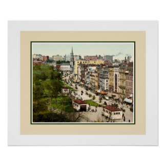 Tremont Street Boston antique restored color photo Poster