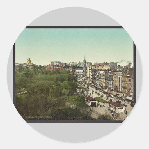 Tremont Street, Boston Mass. classic Photochrom Classic Round Sticker