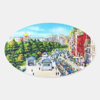 Tremont Street, Boston, Massachusetts Oval Sticker