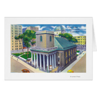 Tremont Street View of Kings Chapel Greeting Card
