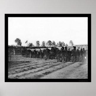 Tren 1863 de la ambulancia del cuerpo del ingenier póster