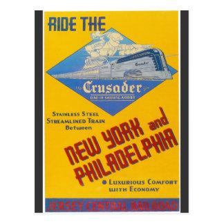 Tren 1937 del cruzado del ferrocarril de la postales