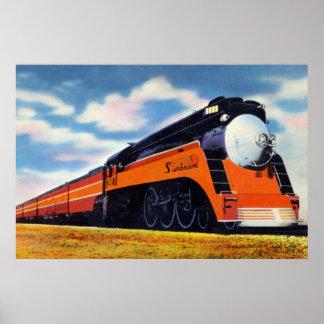 """Tren aerodinamizado el Pacífico meridional """"rayo Póster"""