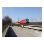 Tren alemán rojo postal