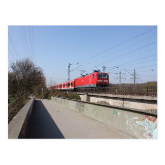 Tren alemán rojo postales