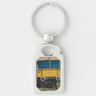 Tren amarillo llavero plateado rectangular