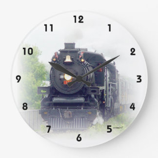 Tren americano del vapor reloj redondo grande