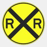 Tren amonestador de la placa de calle de la traves etiquetas redondas
