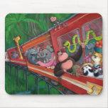 Tren animal de la selva alfombrilla de ratón