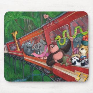 Tren animal de la selva alfombrillas de ratón