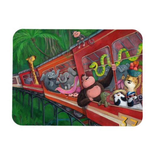 Tren animal de la selva imanes rectangulares