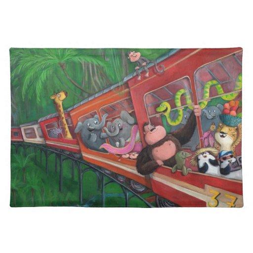 Tren animal de la selva mantel