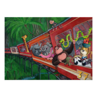 Tren animal de la selva poster