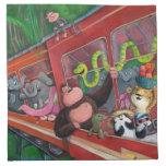 Tren animal de la selva servilleta imprimida