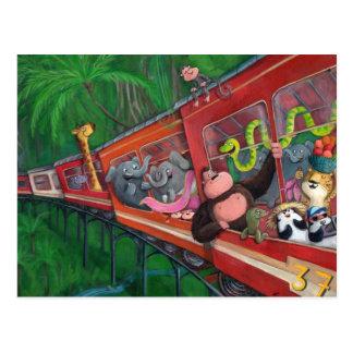 Tren animal de la selva tarjetas postales