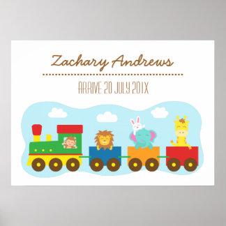 Tren animal lindo colorido, para el dormitorio de poster