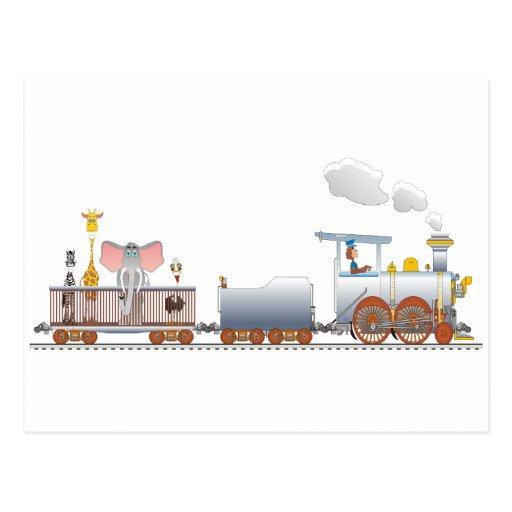 Tren animal tarjetas postales