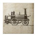 Tren antiguo del vapor del juguete azulejos