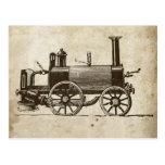 Tren antiguo del vapor del juguete postal