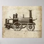 Tren antiguo del vapor del juguete posters