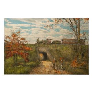 Tren - Arlington, NJ - disfrutar del día del otoño Impresión En Madera