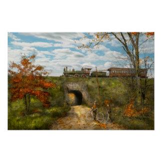 Tren - Arlington, NJ - disfrutar del día del otoño Perfect Poster