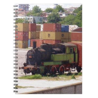 Tren averiado del vapor libro de apuntes con espiral