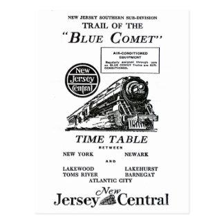 Tren azul central del cometa de New Jersey Postales