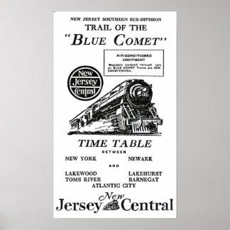 Tren azul del cometa - trenes de lujo del coche póster