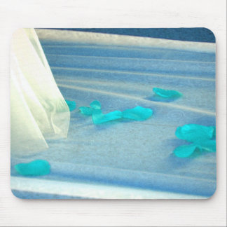 Tren azul del vestido de boda de los pétalos color alfombrilla de raton