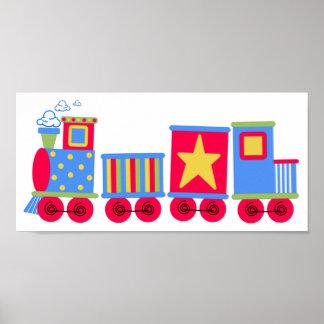 Tren azul y rojo poco póster