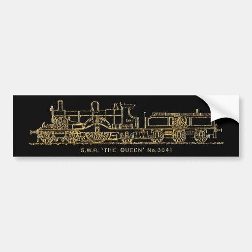 """Tren británico del vapor de GWR, """"la reina"""", 3041, Etiqueta De Parachoque"""