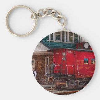 Tren - Caboose - extremo de la línea Llavero Redondo Tipo Pin