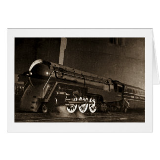 Tren central del art déco del vintage de Nueva Tarjeta De Felicitación