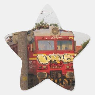 Tren cubierto pintada pegatina en forma de estrella