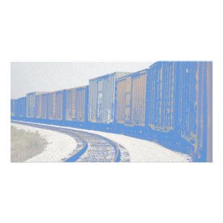 Tren de carga descolorado tarjeta fotográfica personalizada