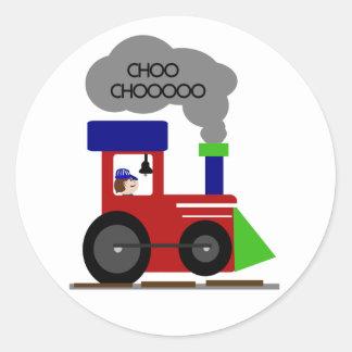 Tren de Choo Choo Etiqueta Redonda