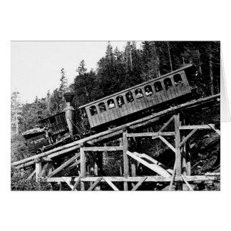 """Tren de ferrocarril 1880 """"nube """" tarjeta pequeña"""