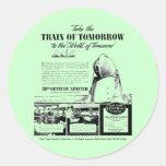Tren de la mañana - ferrocarril de la central de etiquetas redondas