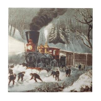 Tren de la nieve de la CAMISETA Azulejo Cuadrado Pequeño