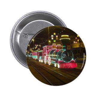 Tren de la tranvía - botón de las iluminaciones de pin redondo de 2 pulgadas
