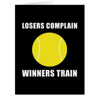 Tren de los ganadores del tenis tarjeta de felicitación grande