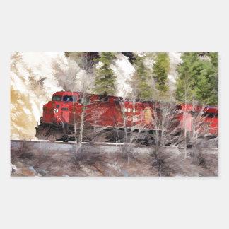Tren de los Rockies Pegatina Rectangular